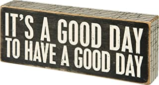 """Primitives by Kathy 31127 Pinstriped Trimmed Box Sign, 8"""" x 3"""", A Good Day"""
