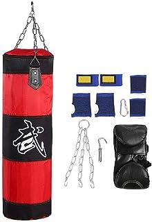Sacos de Suelo Saco de Boxeo para Artes Marciales Set de boxeo Saco de Boxeo con Cadenas,7 en 1 Entrenamiento Vacío Boxeo Gancho Kick Sandbag Lucha Karate Punch Punching Sand Bag Guantes(0.8m-rojo)