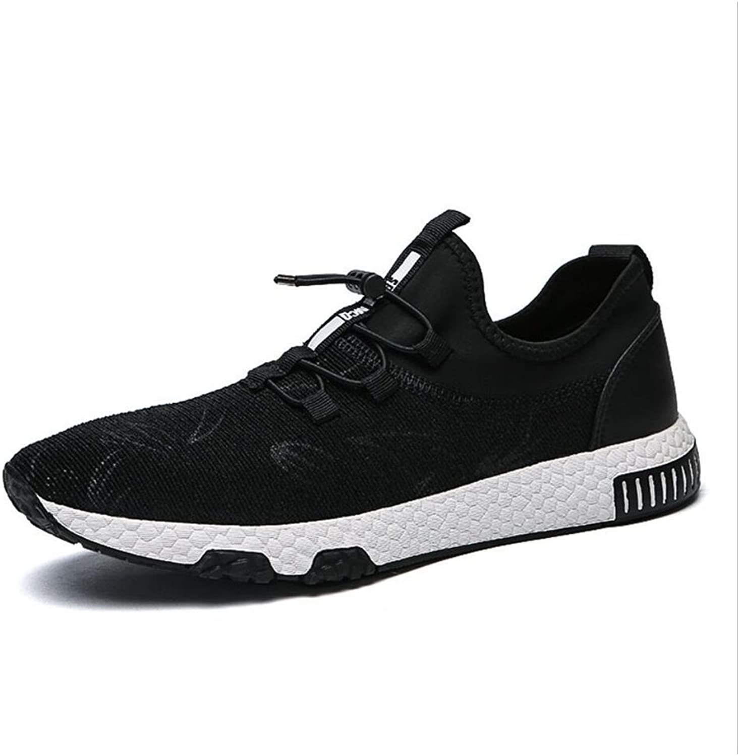 XUE Men's shoes Knit Spring Fall Lace-up Breathable High-Top Sneakers Light Soles Comfort Running shoes Outdoor Hiking shoes Light Soles Athletic shoes (color   B, Size   44)