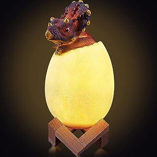 Dinosaurus Nachtlampje voor kinderen, LETOUR 3D Dinosaurus Lamp LED Nachtlampje met Pat, Touch & Afstandsbediening 16 Kleu...