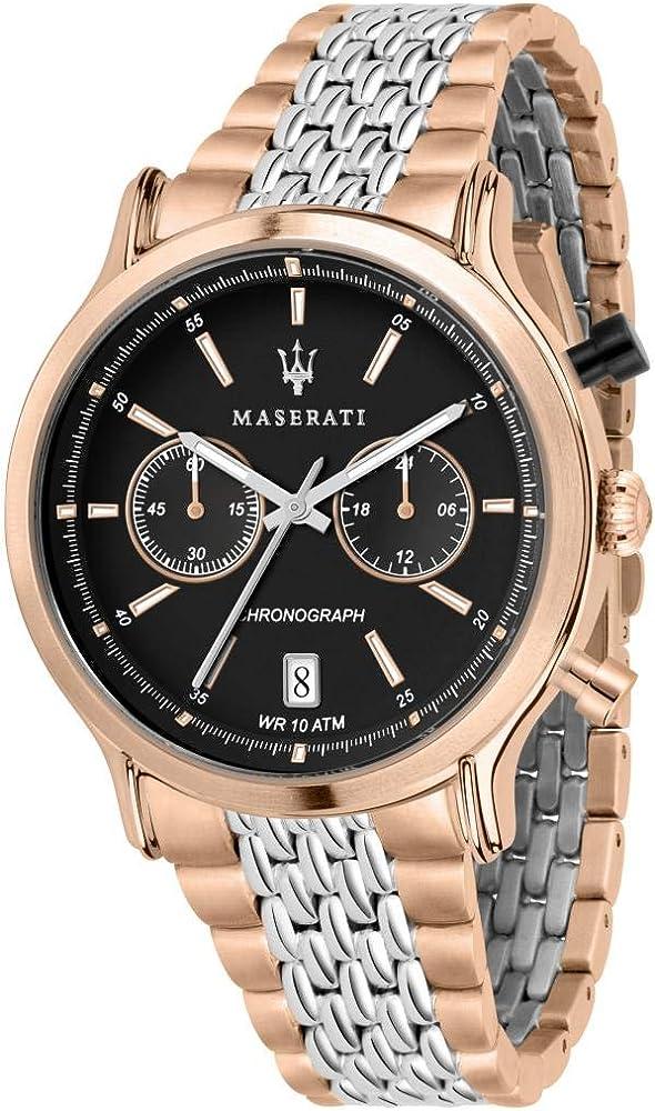 Maserati orologio da uomo, collezione legend, cronografo, in acciaio e pvd oro rosa 8033288862314