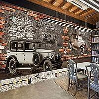 カスタム壁画壁紙3Dレトロヴィンテージ車のレンガの壁の壁画カフェレストランKTVバー背景壁紙の装飾, 250cm×175cm
