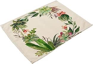 ChezMax Rectangle Succulent Plant Print Linen Western Food Mat Bowl Cup Placemat