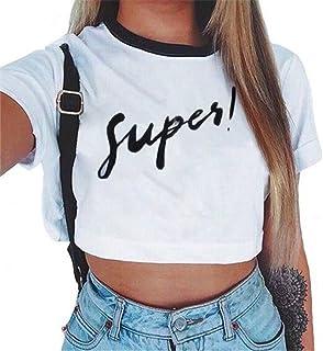 e3a1a9ddf2a467 Baijiaye Donna Sottile Maniche Corte Maglietta Girocollo Motivo Stampato  Crop Tops T-Shirt Cute Casual