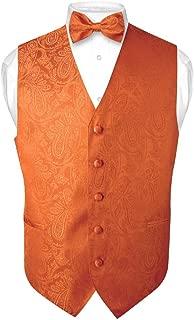 Men's Paisley Design Dress Vest & Bow Tie Burnt Orange Color Bowtie Set