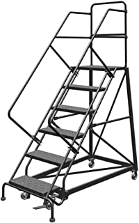 Tri-Arc KDEC106246 6-Step Forward Descent Safety Angle Steel Rolling Industrial and Warehouse Ladder with Perforated Tread, 24-Inch Wide Steps