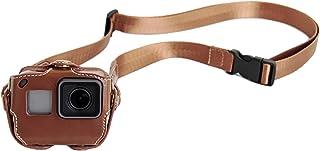 PU Leder Tasche für GoPro Hero 5/6/7 Action Kamera Rahmen Mount Gehäuse mit verstellbarem Hals / Taille Gurt Zubehör Braun