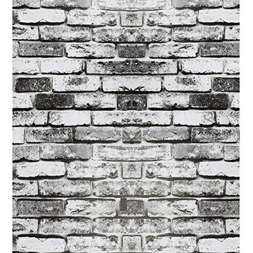 Weiß Grau Schwarz Ziegeleffekt Tapete Selbstklebende Rustikale Tapete Kontakt Papierrolle Peel and Stick Tapete Zurück Splash Wallpaper für Dekorieren Küche und Weihnachtsgeschenk 44 * 1000 cm