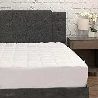 eLuxurySupply Pillowtop Mattress Pad w/Deep Pocket Fitted Skirt - Premium Microfiber Mattress Cover - Down Alternative Topper with Anti Allergen Bed Protection - King Size