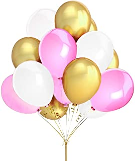 FECEDY 100pcs Gold Pink White Round Balloons for Party