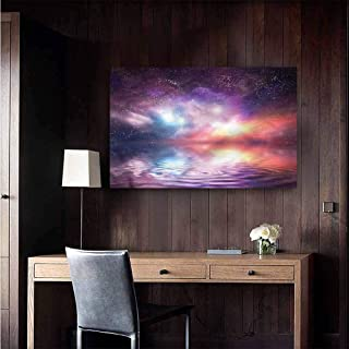 Gabriesl Canvas Print Wall Art Nature Psychedelic Milky Way Water Living Room Wallpaper Size : W28 x H20
