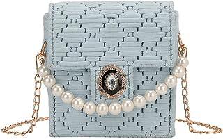 GSERA Tasche Female Umhängetasche DIY Handgewebte Tasche Stoff Mesh Pearl Over-The-Shoulder Bag