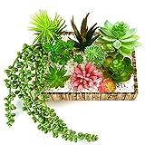KUUQA - 10 piezas de flores artificiales suculentas para colgar plantas, tallos para...