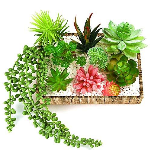 Kuuqa Künstliche Sukkulenten Blumen Pflanzen Hängende Stiele Heimdeko Innenbereich Garten DIY-Zubehör, 10 Stück