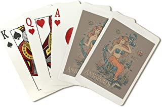 Annapolis, Maryland - Swim with The Mermaids - Tattoo Design (Playing Card Deck - 52 Card Poker Size with Jokers)
