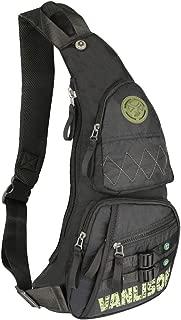 Sling Bag, Sling Backpack, Shoulder Bag, Larswon Men Bag Women Bag, Nylon Bag Black