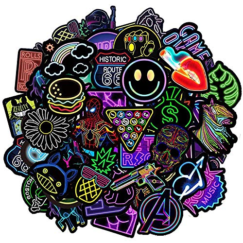 Neon Stickers Pack [50-pcs], Cool Graffiti Stickers for Kids Teens Adult,...