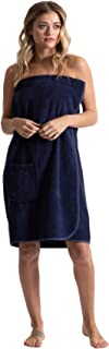 Turkuoise Cotton Knee Length Spa/Bath Terry Body Wrap with Adjustable Closure Navy