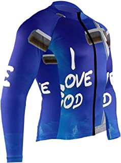 I Love Cute Mustache Mens Cycling Jersey Top Full Sleeve Mountain Riding Clothes Outfit