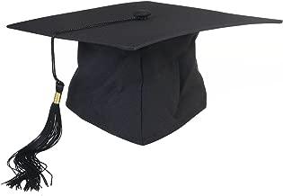 OULII Graduation Cap Hat Adjustable Adults Student Mortar Board Graduation Hat Cap Fancy Dress Accessory Photo Props (Black)