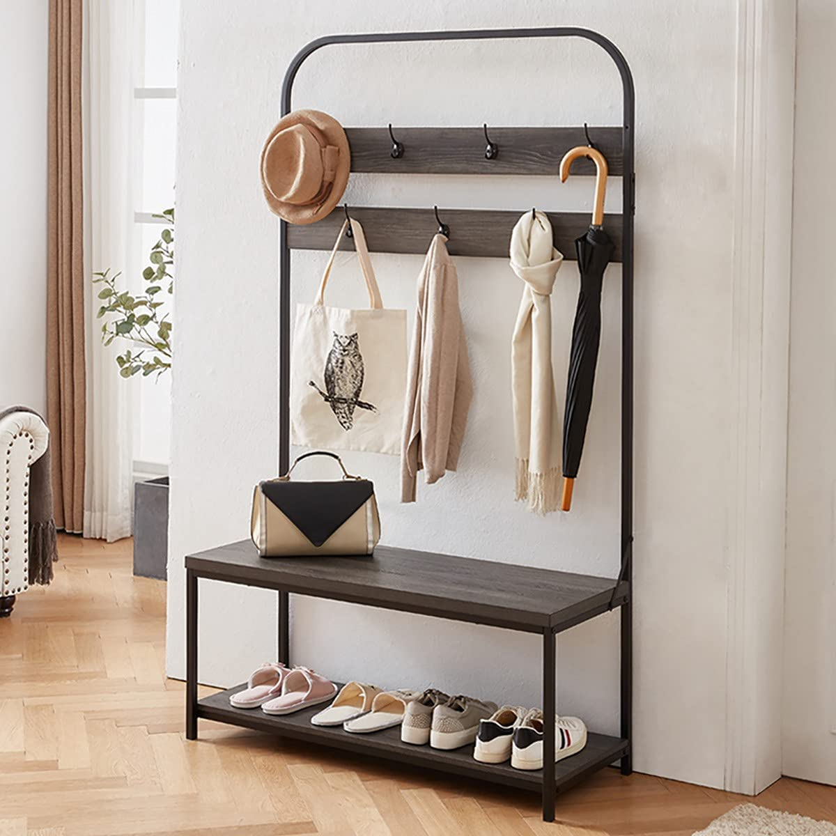 IBF Coat 新登場 Rack with Shoe Bench Ben 新作 Hall Tree Storage 3-In-1