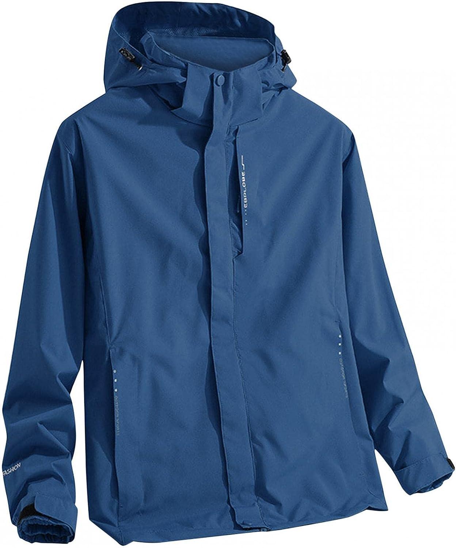 Huangse Men's Ski Jacket 3 in 1 Waterproof Winter Jacket Snow Jacket Windproof Hooded with Inner Two Sided Warm Fleece Coat