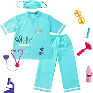 Kids Animal Doctor Role Play Costume Veterinarian Pretend Play Dress Up Set with Medical Kit