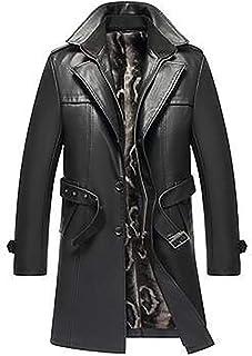 HYISHION Herren Trenchcoat aus echtem Leder Schwarz Langer Winteranzug Kragen Mantel Oberbekleidung mit Gürtel