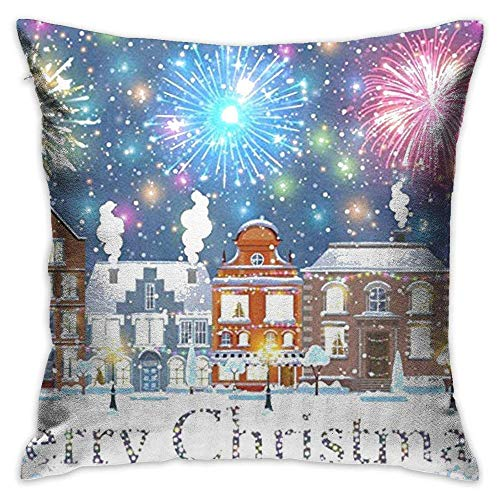 AOOEDM Throw Pillow Cover Merry Christmas Fireworks and Town Decorative Pillow Case Decor Square 18x18 Inch Cushion Pillowcase