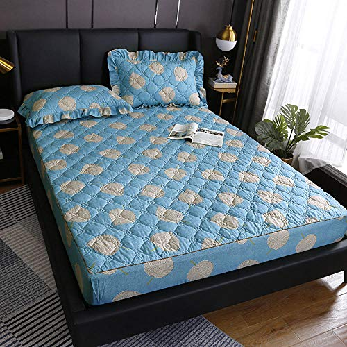 YFGY Fitted Sheet Wrinkle Fade Queen,Waterproof Quilted Mattress Cover Bed Cover Protector, Sheets Bedding for Bedroom Apartment Blue 180200cm
