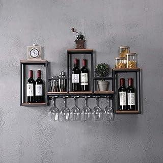 L.HPT Casier à vin avec Rangement Mural, casier à vin Mural en métal avec penderie en Bois Etagère à Champagne avec Rangem...