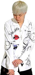 (キングリーマスク)KINGLYMASK 2colors KMK 懐中時計/リップ/メッセージ総柄オープンカラーブロードシャツ