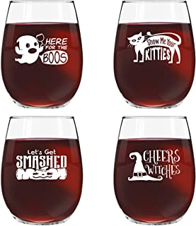 Funny Halloween Wine Glass Set of 4- Novelty Glasses w/Cute Sayings- 15 oz. Stemless Wine Glasses for Your Halloween Party- Here for the Boos, Show Me Your Kitties, Let's Get Smashed, Cheers Witches