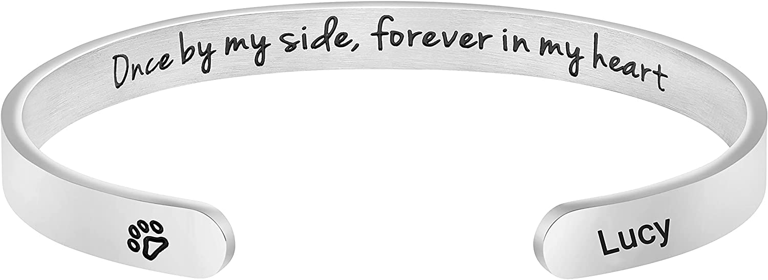 Pet Loss Gifts Dog Custom Pet Name Cuff Customized Unique Sympathy Jewelry Gift for Women Girls Engraved Once by My Side Forever in My Heart