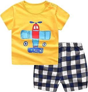 Toddler Kid Boy Cotton Clothes Airplane Shirt Top Stripe Plaid Shorts 2Pcs Summer Outfits