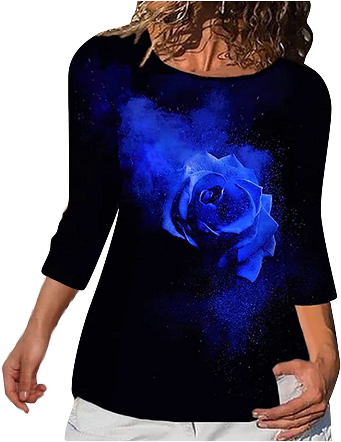 Womens Crewneck Sweatshirt Lightweight Long Sleeve Oversized Vintage Rose Graphic Patchwork Loose Fitting Top Pullover