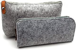 ERCENTURY Pencil Bag Pen Holder Cosmetic Pouch Bag, Felt Pouch Zipper Bag for School/Office Supplies, Stationeries or Makeup Accessories.2 Sizes in 1 Pack. (Light Grey)