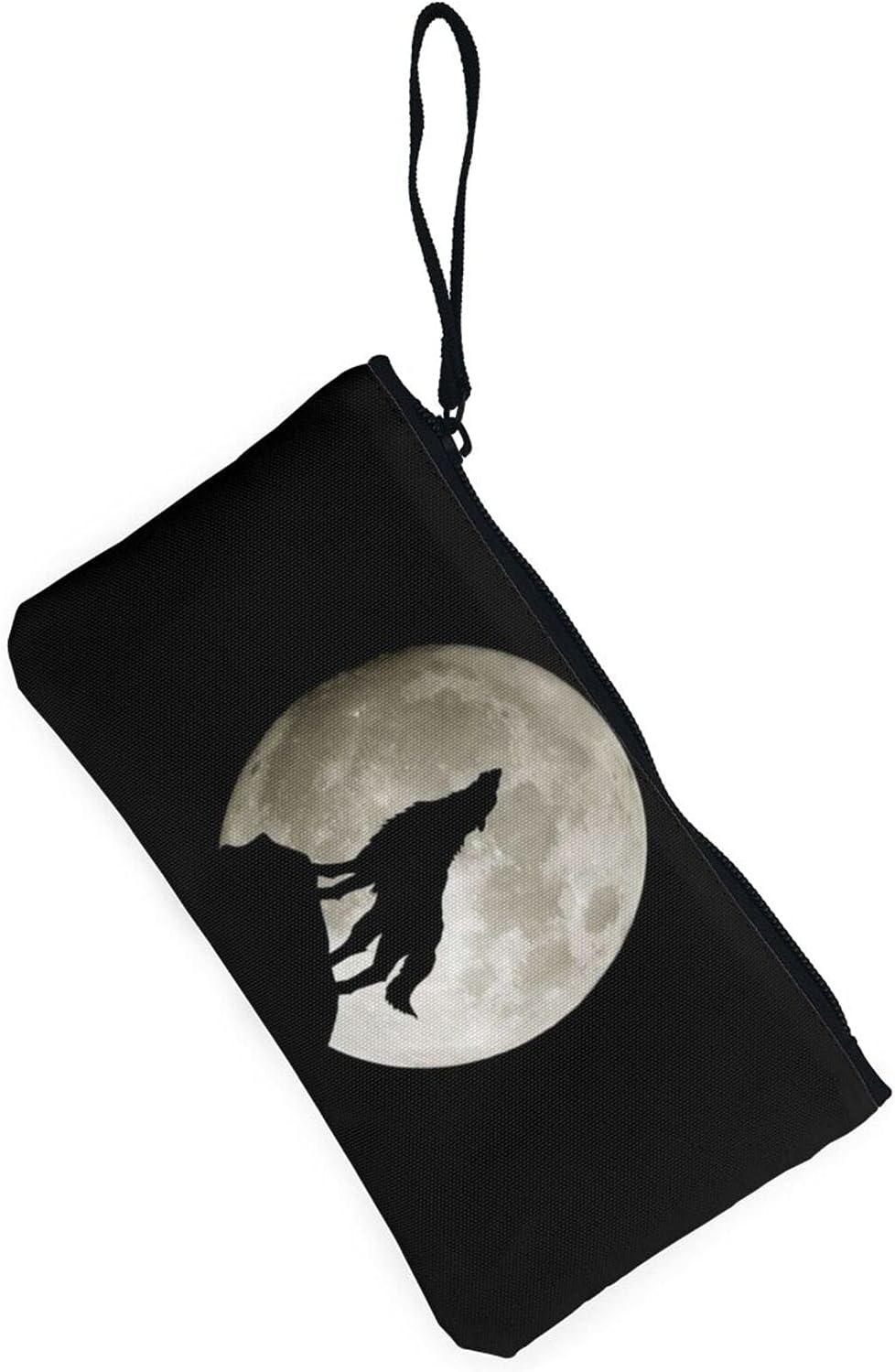 AORRUAM Wolf Howling Moon Canvas Coin Purse,Canvas Zipper Pencil Cases,Canvas Change Purse Pouch Mini Wallet Coin Bag