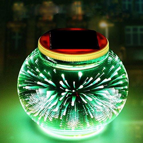 Mosaik Lampe Solar Gartenleuchten,KINGCOO Wasserdichte Farbwechsel Ball Stimmungslicht Nachtlichter Solarleuchte Tischlampe für Schlafzimmer Party Terrasse Dekoration Beleuchtung(3D Feuerwerk)