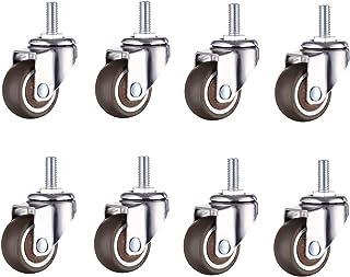 Zunbo 8 robuuste meubelwielen van rubber met schroefdraadstang, M6 x 15 mm, voor handwagen, werktafel, beweegbare wielen, ...