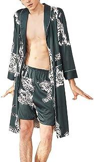 GaoYunQin Hommes Chemise de Nuit Robe Pyjama Homme Soie Satinée Vêtements de Nuit Ensembles de Robe avec Shorts, Chemise d...