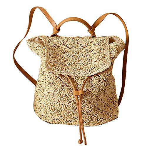 lievevt Animgb - Zaino fatto a mano in paglia con coulisse, borsa a tracolla intrecciata all'uncinetto, per vacanze, spiaggia, vacanze, spiaggia, vacanze, paglia, colore: beige
