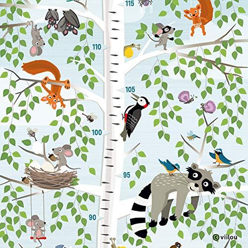 Messlatte Kinder Poster Messleiste Kinderzimmer Bilder Illustration Baum Plakat Tiere viilou