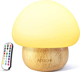Night Lights for Kids, ACELONE Baby Nursery Lamp,LED mushroom night light, Eye Caring, Adjustable Brightness & Color with Remote Control