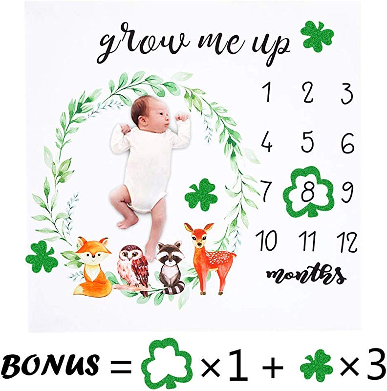Baby Monthly Milestone Blanket Newborn Girls Photo Props Shoots Backdrop Personalized Clover Green Wreath Woodland Animals Color Fox Owl Photography Growing Infants Toddlers Swaddle Blanket
