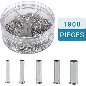1900 Stück Aderendhülsen unisoliert 0,5mm² 2,5mm² Sortiment in Streudose
