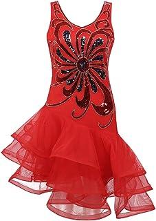 Freebily Damen Pailletten Tanzkleid Latein Tanzen Kleid Flamenco Kleid Rumbakleid Cha Cha Jazz Dancewear Karneval Fasching Party Tanzkostüm