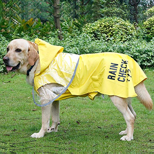 ISPET Dog Raincoats for Large Dogs, Dog Hooded Raincoat with Reflective Stripe, Water Proof | Light Weight, Premium Dog Poncho Raincoat for Medium Large Dogs X-Large, Yellow