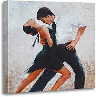 Emvency Canvas Wall Art Print Red Salsa Tango Dancers Digital Painting White Dance Artwork for Home Decor 20 x 20 Inches