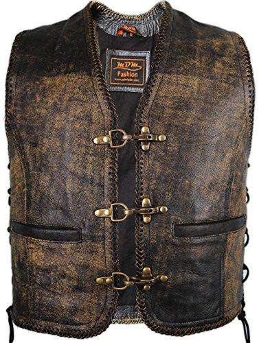 MDM Vintage Lederweste aus echtem Rindsleder (S)